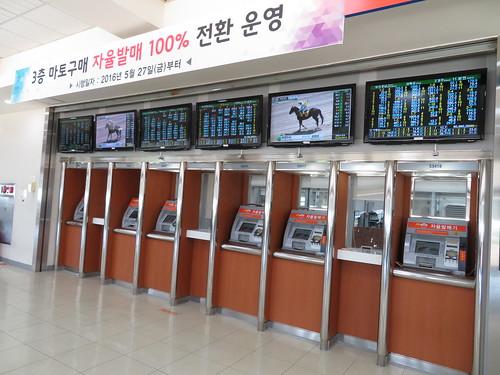 釜山慶南競馬場に並ぶ券売機