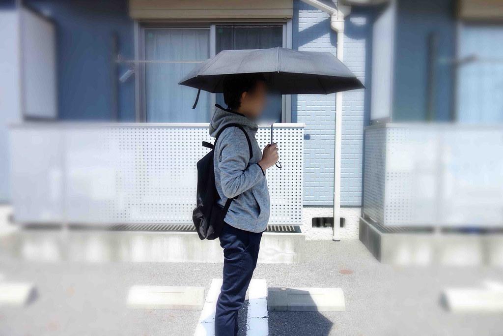 リュックと折り畳み傘