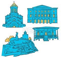 Tbilisi Georgia Colored Landmarks