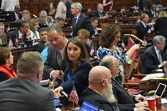 State Representative Rosa C. Rebimbas discusses legislation with her colleagues on a recent session day in the Connecticut legislature.