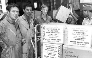 1970 RNZAF Bristol Freighter NZ5906 unloading relief aid at Phnom Penh, Cambodia