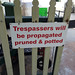 Small photo of A sign at a nursery potting shed