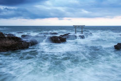 japan spring 神磯の鳥居 canon 6d apr wave 大洗町 sunset doubleexposure