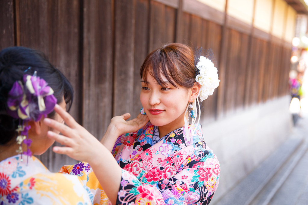 ... Young Kimono girls touching hair accessories each other | by Apricot  Cafe