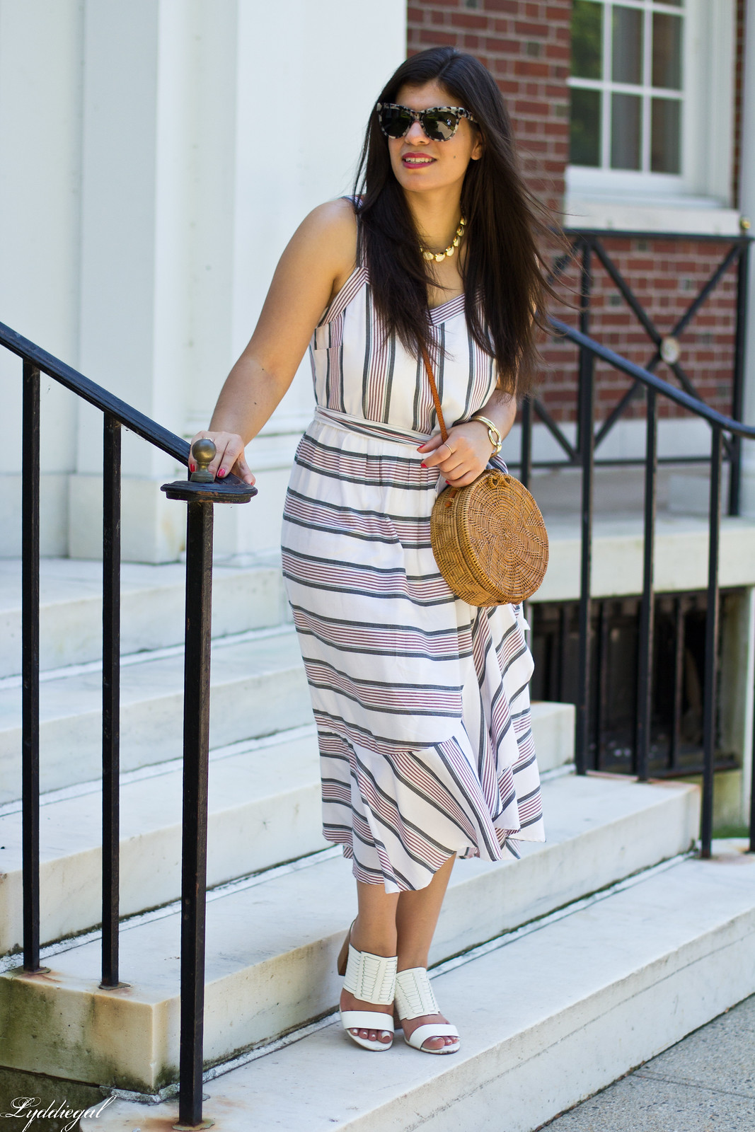 striped ruffle dress, round straw bag, white mules-2.jpg