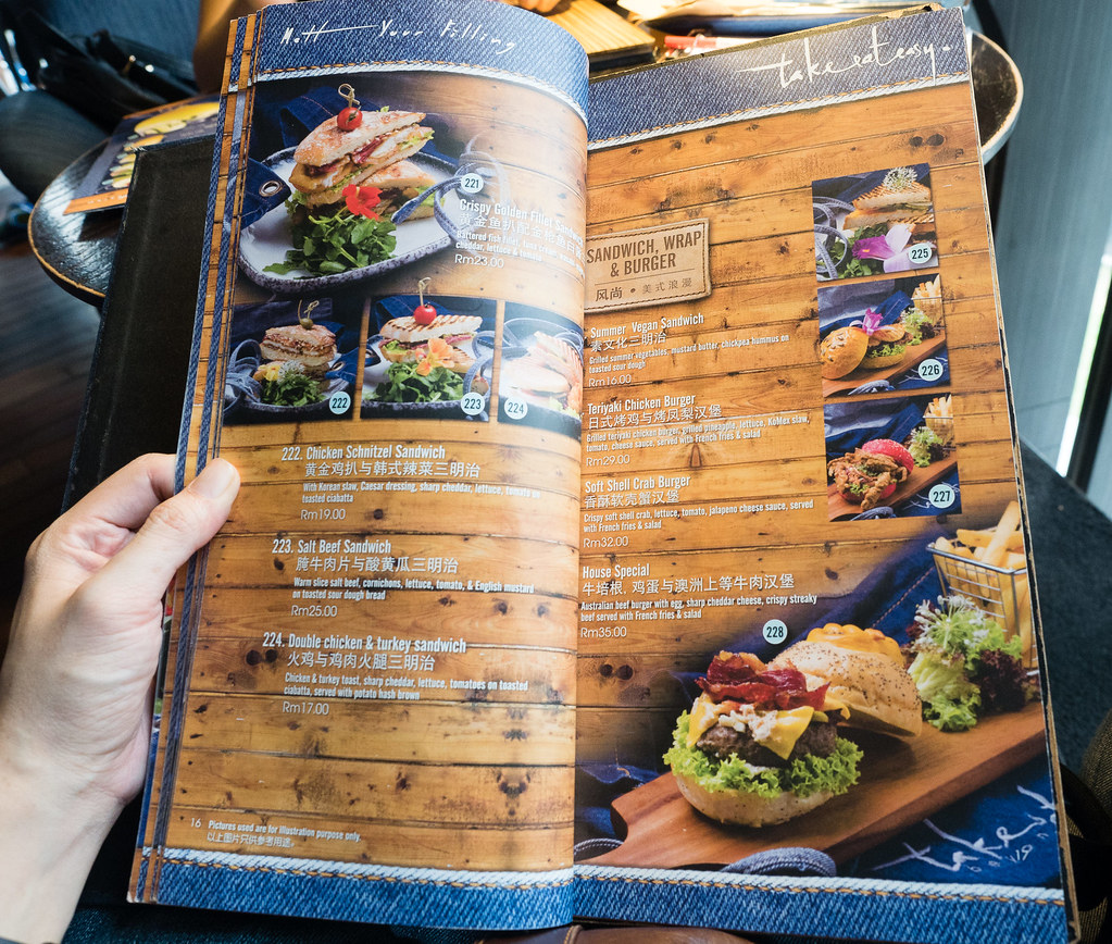 Sandwich, wrap and burger menu