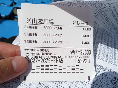 釜山慶南競馬場の日本語の馬券