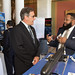 State Rep. John Fusco talks with General Dynamics/Electric Boat's Jemiel Rose during the annual Manufacturers Day at the Capitol.