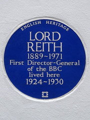 Photo of John Reith blue plaque