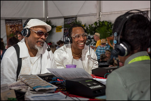 Pedrito Martinez and Roman Diaz, his musical mentor, getting interviewed on air at Jazz Fest Day 5 on May 5, 2017. Photo by Ryan Hodgson-Rigsbee www.rhrphoto.com
