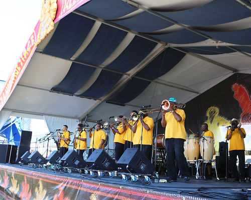 Pin Stripe Brass Band at the Jazz & Heritage Stage on Day 5 of Jazz Fest - May 5, 2017. Photo by Bill Sasser.