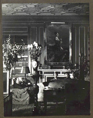 Lord Londonderry, Lady Edith and Lady Mairi in the library of Londonderry House
