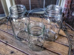 ball jars on the back porch
