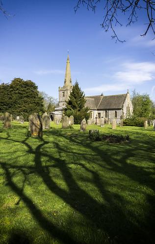 landscape derbyshire peakdistrict whitepeak monyash stleonardschurch village gravestones graveyard trees shadows