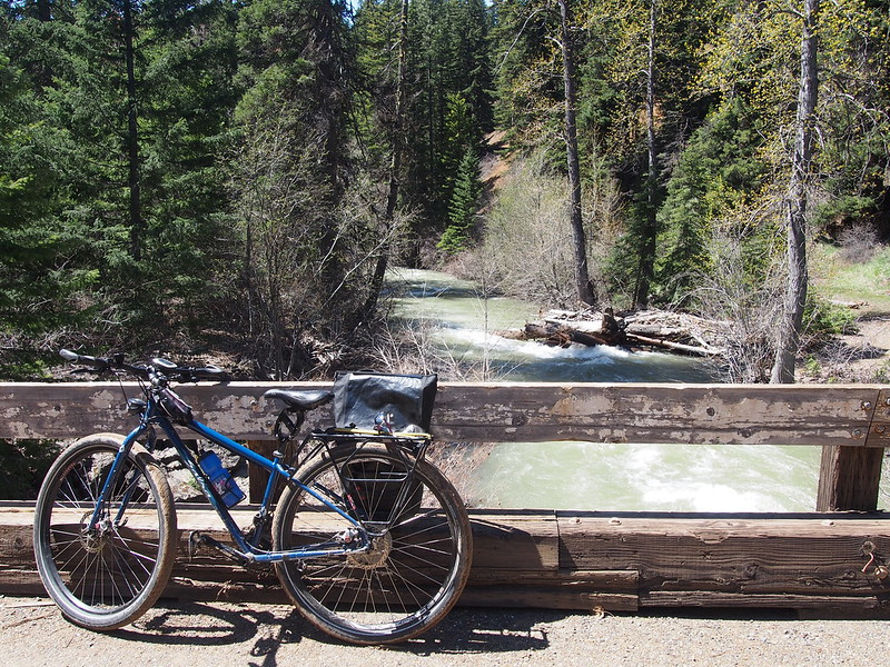 Jill's Bike Over Middle Fork Teanaway River: Definitely a great bike for mixed surfaces.