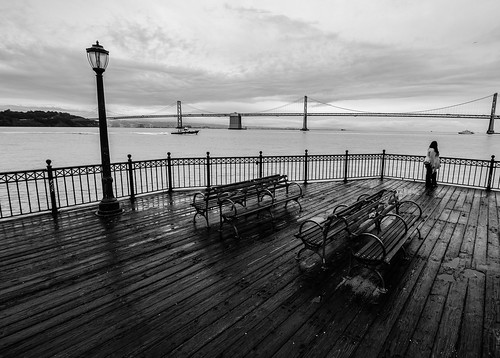 sanfrancisco california pier monochrome bw view melancholy benches streetlamps bridge thoughts sea seascape bay floor