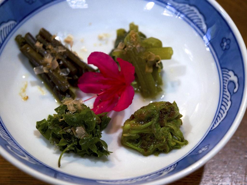 Well-simmered wild plants / 山菜4種 / のんび荘 (長野県飯田市)