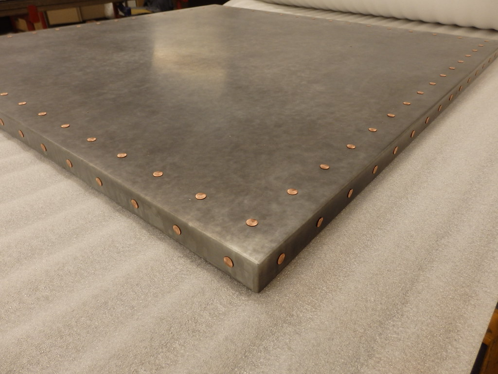 Light Patina Zinc Table Top With Copper Rivets