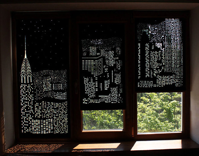 Modern Blackout Curtains Turn Windows Into Penthouse Views of a City at Night
