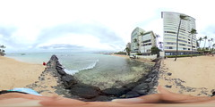 From the pier between the Outrigger and Kaimana Beaches in Waikiki in front of the Colony Surf Hotel - a 360° Equirectangular VR