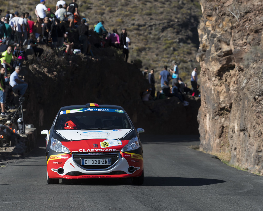 38 BEDORET Sebastien (BEL),  WALBRECQ Thomas (BEL), PEUGEOT 208 VTI R2 , Action during the 2017 European Rally Championship ERC Rally Islas Canarias, El Corte Inglés,  from May 4 to 6, at Las Palmas, Spain - Photo Gregory Lenormand / DPPI
