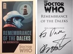 Remembrance of the Daleks signed novel, Ben Aaronovitch 2017