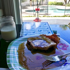 Saturday indulgence -#bacon #frenchtoast and #milk and oh yeah a little #birdwatching in my #backyard - #hummingbird feeder is happening today #ranchocucamonga #realestate #mortgagebroker #la #ie