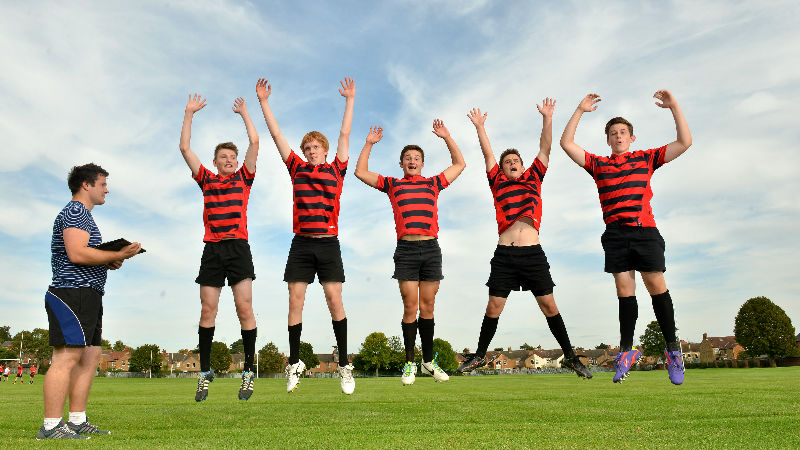 Young rugby players taking part in a targeted exercise programme