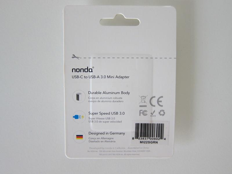 nonda USB-C to USB 3.0 Mini Adapter - Packaging Back