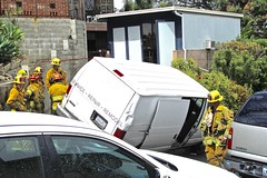 LAFD Pulls Driver of Toppling Van to Safety