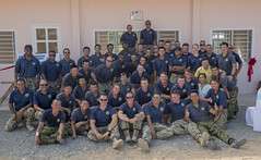 Members of the Pacific Partnership team pose for a group photo at the ribbon cutting ceremony for the Hoa Lien Nursery School, May 12. (U.S. Navy/MC2 Joshua Fulton)