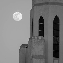 A full moon rises over the Tower of Memories mausoleum. Good place to reflect on the passage of time. #mementomori #tower #moon #fullmoon #blackandwhite #bw