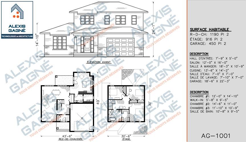 plan de maison a etage avec garage