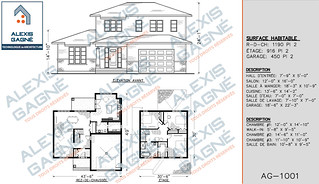 Plan de maison 2 étages avec garage - MM2eG.01