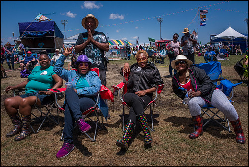 Original Wild Tchoupitoulas Big Queen Mary and Big Chief John and friends at Jazz Fest Day 5 on May 5, 2017. Photo by Ryan Hodgson-Rigsbee www.rhrphoto.com