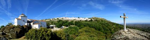portugal castelodemarvão marvão cross landscape panorama trees sky blue clouds contrail santacasadamisericórdiademarvão holyhouseofmercy conventodenossasenhoradaestrela conventofourladyofthestar explore