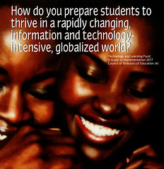 """Educational Postcard: """"How do you prepare students to  thrive in a rapidly changing, information and technology- intensive, globalized world?"""""""