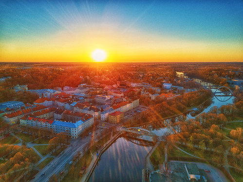dji mavic landscape tartu estonia sunset city water river emajogi oldtown goldenhour
