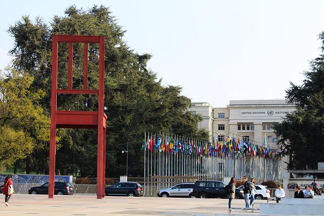 ONU chaise drapeaux