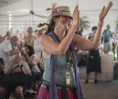 Brass Pass dancer at Chucho Valdes' set at Jazz Fest Day 7.  Photo by Marc PoKempner