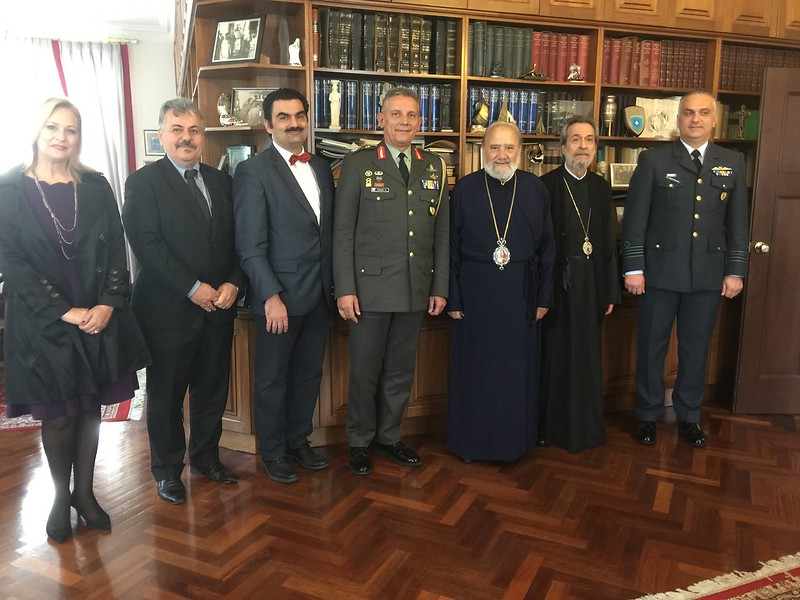 The Deputy Chief of Defence of Greece Lt General Konstantinos Floros, his wife Ms Anna Maria Tsikrikonis and Colonel Christos Anastasiades visit the Greek Orthodox Archdiocese of Australia.