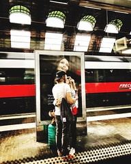 Ménage à trois... Full Length Train - Vehicle Real People Togetherness Casual Clothing Standing Public Transportation Railroad Station Rail Transportation Indoors  Railroad Station Platform Day Lifestyles Young Women Bonding Women Photography Themes Young