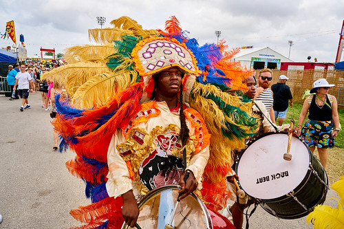 Mardi Gras Indian. Saturday, April 29, 2017 - Jazz Fest Day 2. Photo by Eli Mergel.