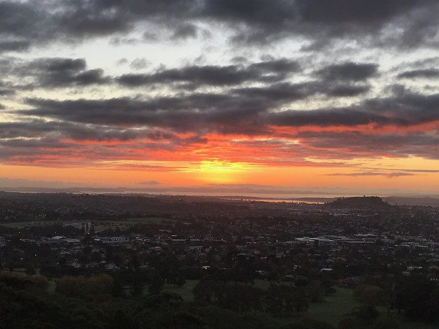 Sunrise from One Tree Hill (Auckland, NZ)