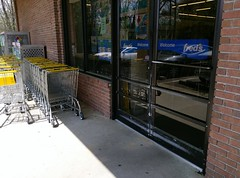 Entrance door (and shopping carts)