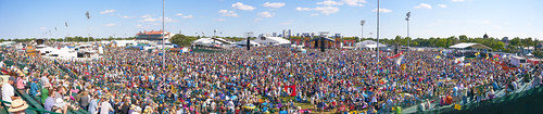 Panorama shot of Jazz Fest crowd on Day 5 - May 5, 2017. Photo by Eli Mergel.