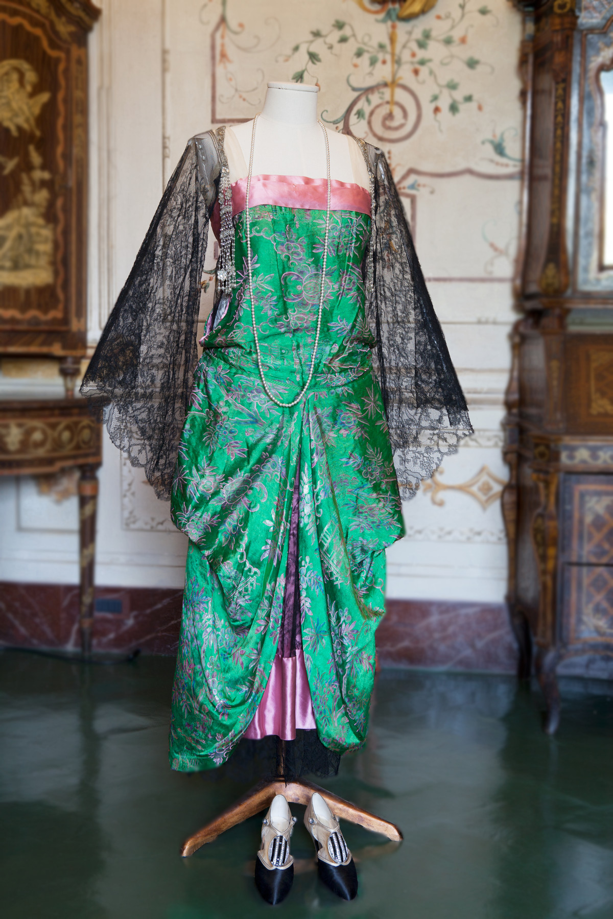 1920s. Callot Soeurs. Green and Pink Silk. Passementerie tassels composed of rhinestones, pearls and beads that hang from either shoulder. Acton Art Collection - Villa La Pietra