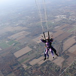 Tandem Skydivers As Parachute Opens