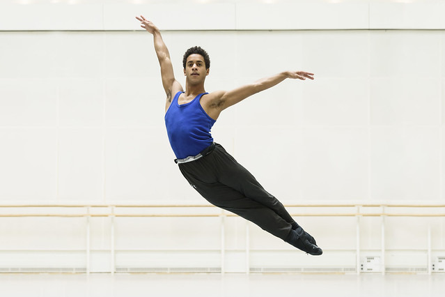 Marcelino Sambé in rehearsal for The Vertiginous Thrill of Exactitude, The Royal Ballet © 2017 ROH. Photograph by Bill Cooper