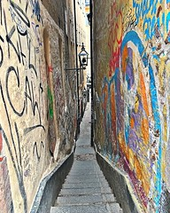 Mårten Trotzigs Gränd descends down via flight of stairs, tapering as it goes down, to reach a mere 90 centimeters (35 inch), making the alley the narrowest street in Stockholm.